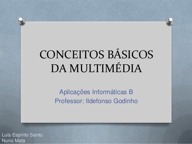CONCEITOS BÁSICOS DA MULTIMÉDIA Aplicações Informáticas B Professor: Ildefonso Godinho Luís Espírito Santo Nuno Mata