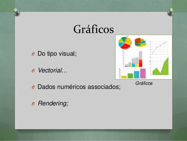 Gráficos O Do tipo visual; O Vectorial… O Dados numéricos associados; O Rendering; Gráficos