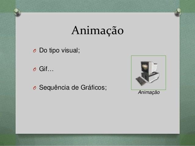 Animação O Do tipo visual; O Gif… O Sequência de Gráficos; Animação