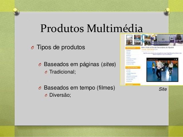 Produtos Multimédia O Tipos de produtos O Baseados em páginas (sites) O Tradicional; O Baseados em tempo (filmes) O Divers...
