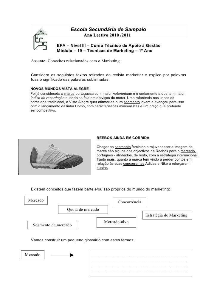 Escola Secundária de Sampaio                                 Ano Lectivo 2010 /2011                 EFA – Nível III – Curs...