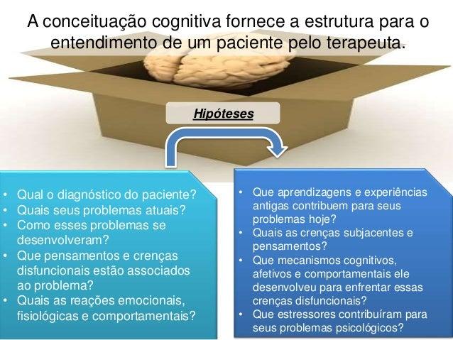A conceituação cognitiva fornece a estrutura para o entendimento de um paciente pelo terapeuta. • Qual o diagnóstico do pa...