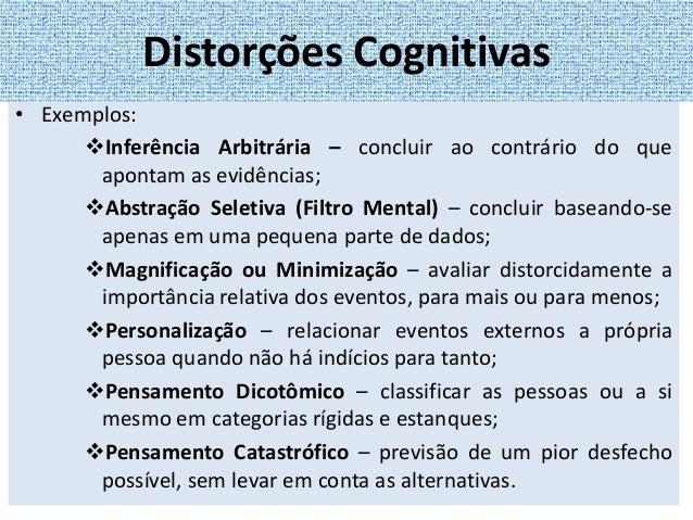 • Inicia-se pela identificação e pelo registro de pensamentos automáticos e crenças disfuncionais. • Subsequentemente, é f...