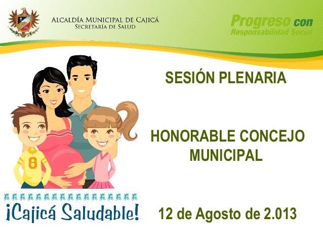SESIÓN PLENARIA HONORABLE CONCEJO MUNICIPAL 12 de Agosto de 2.013