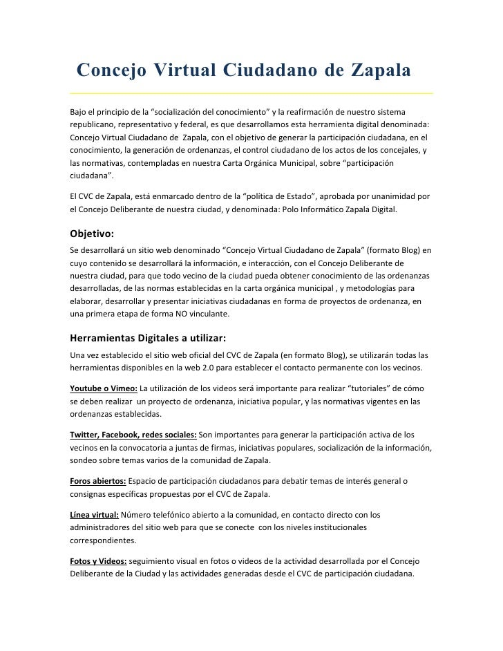 """Concejo Virtual Ciudadano de Zapala Bajo el principio de la """"socialización del conocimiento"""" y la reafirmación de nuestro ..."""