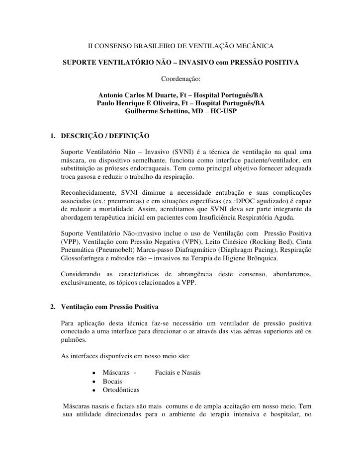 II CONSENSO BRASILEIRO DE VENTILAÇÃO MECÂNICA     SUPORTE VENTILATÓRIO NÃO                 INVASIVO com PRESSÃO POSITIVA  ...