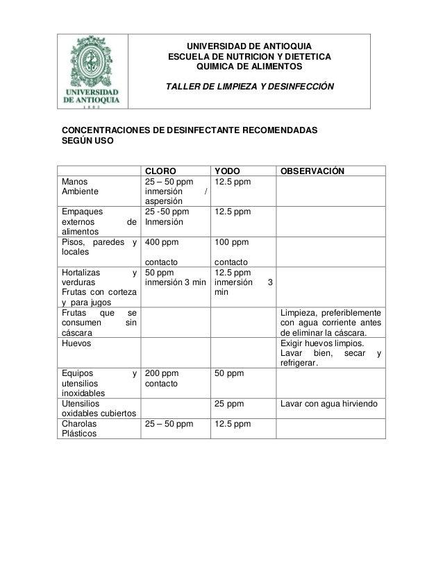 Concentraci n ppm desinfectante lab for Limpieza y desinfeccion de alimentos