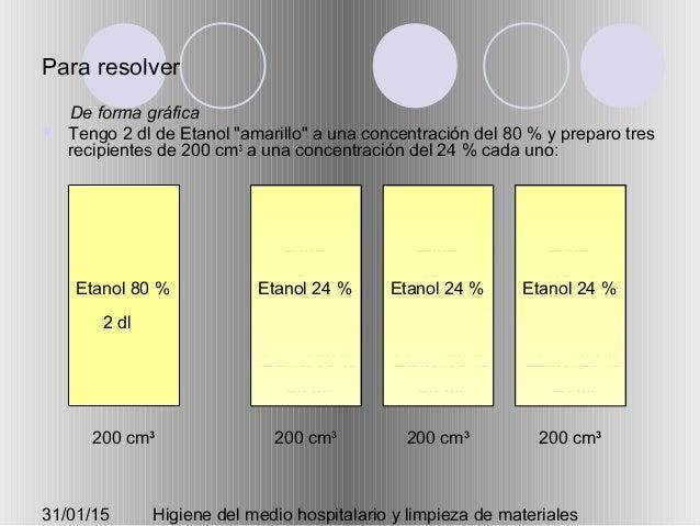 """31/01/15 Higiene del medio hospitalario y limpieza de materiales Para resolver  Tengo 2 dl de Etanol """"amarillo"""" a una con..."""