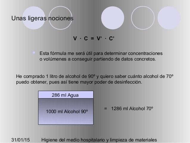 31/01/15 Higiene del medio hospitalario y limpieza de materiales Unas ligeras nociones V · C = V' · C'  Esta fórmula me s...