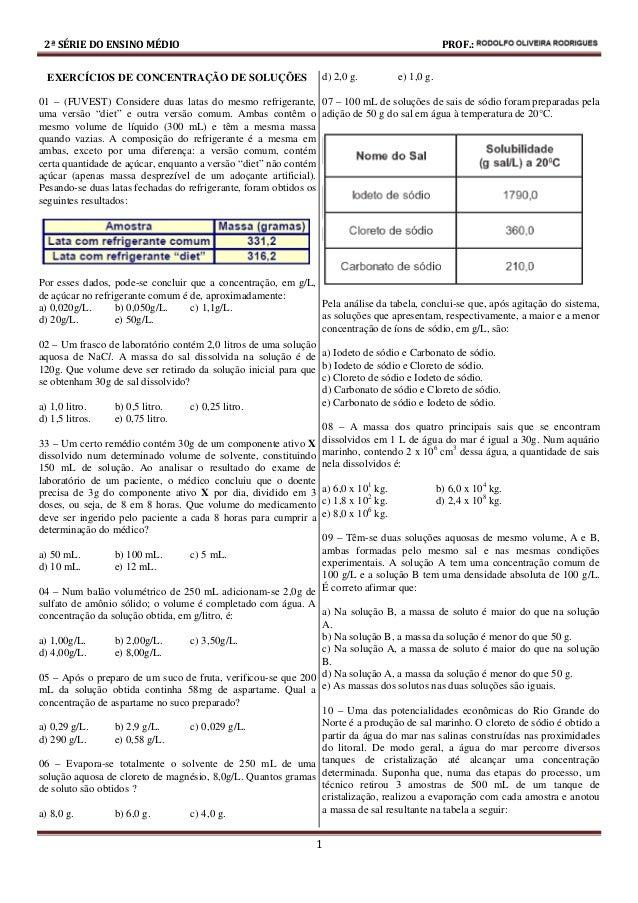 2ª SÉRIE DO ENSINO MÉDIO PROF.: RENÉ DOS REIS BORGES 1 EXERCÍCIOS DE CONCENTRAÇÃO DE SOLUÇÕES 01 – (FUVEST) Considere duas...
