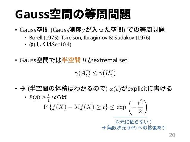 Gauss • Gauss (Gauss 𝛾 ) • Borell (1975), Tsirelson, Ibragimov & Sudakov (1976) • ( Sec10.4) • Gauss 𝐻 extremal set •  ( ...