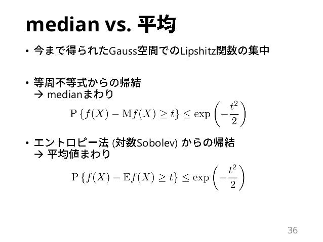 median vs. • Gauss Lipshitz •  median • ( Sobolev)  36