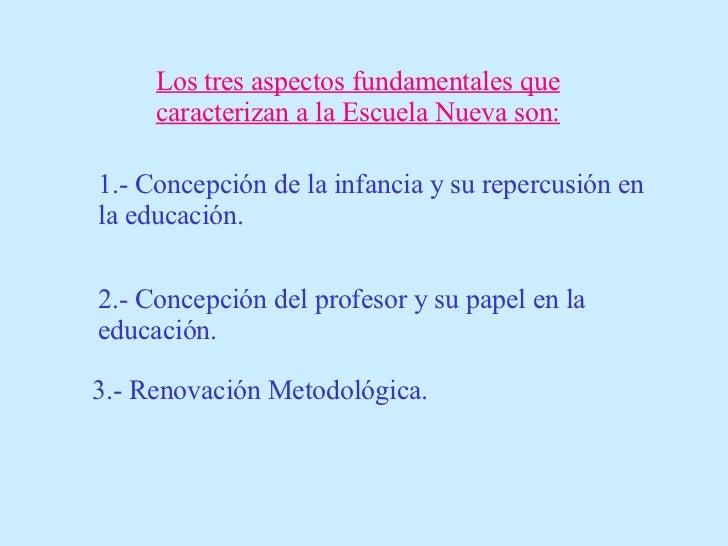 Los tres aspectos fundamentales que caracterizan a la Escuela Nueva son: 1.- Concepción de la infancia y su repercusión en...