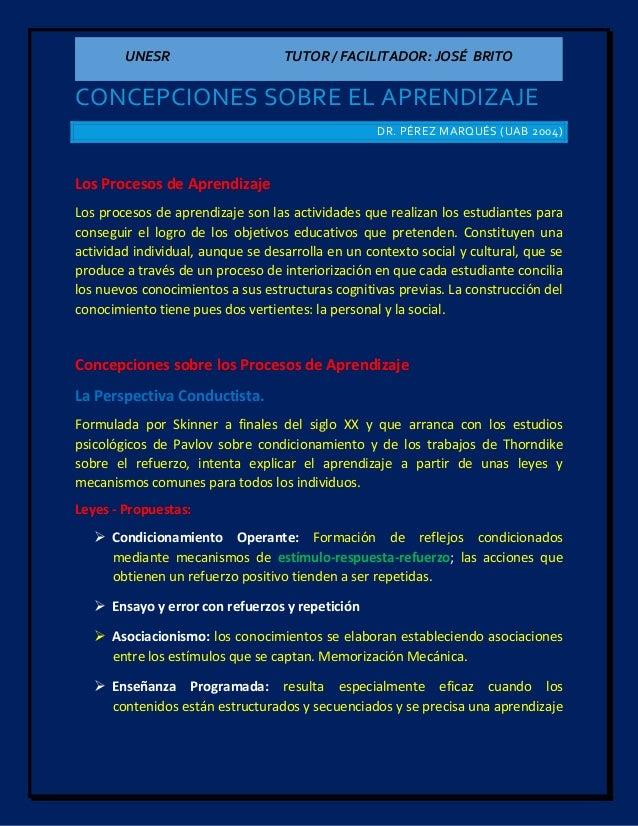 UNESR TUTOR / FACILITADOR: JOSÉ BRITO CONCEPCIONES SOBRE EL APRENDIZAJE DR. PÉREZ MARQUÉS (UAB 2004) Los Procesos de Apren...
