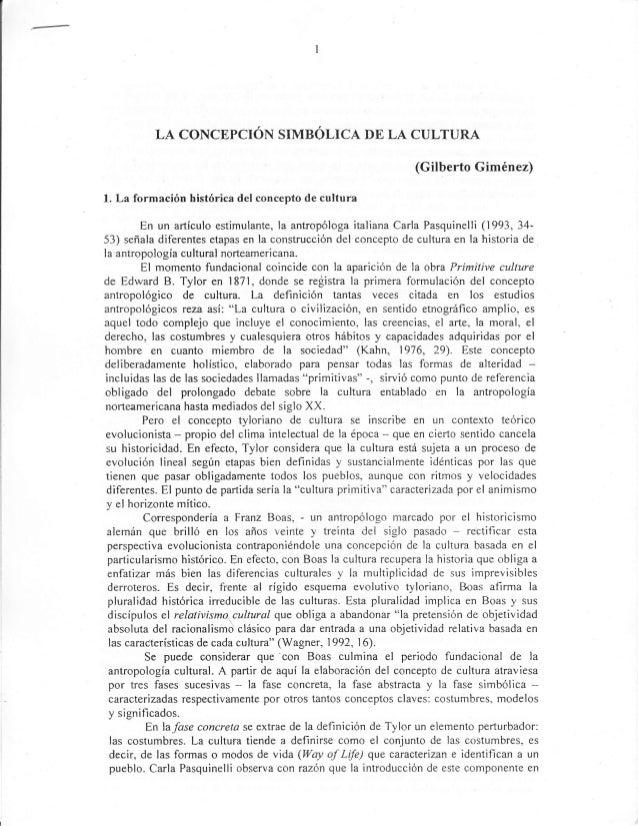 LA CONCEPCIOF{ SIMBSLICA DE LA CULTURA                                                                 (Gilberto Giménez)l...