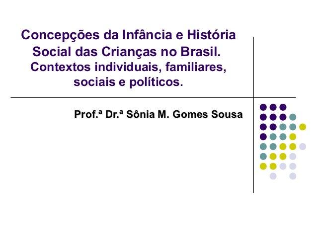 Concepções da Infância e HistóriaSocial das Crianças no Brasil.Contextos individuais, familiares,sociais e políticos.Prof....