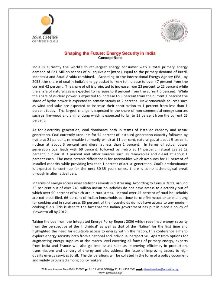 Shaping the Future: Energy Security in India                                                  Concept NoteIndia is current...