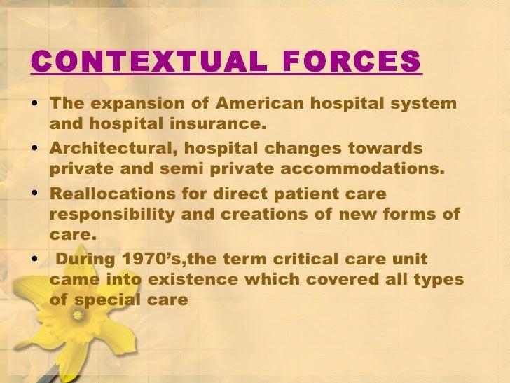 CONTEXTUAL FORCES <ul><li>The expansion of American hospital system and hospital insurance. </li></ul><ul><li>Architectura...