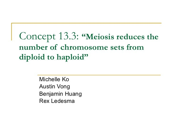 """Concept 13.3:  """"Meiosis reduces the number of chromosome sets from diploid to haploid"""" Michelle Ko Austin Vong Benjamin Hu..."""