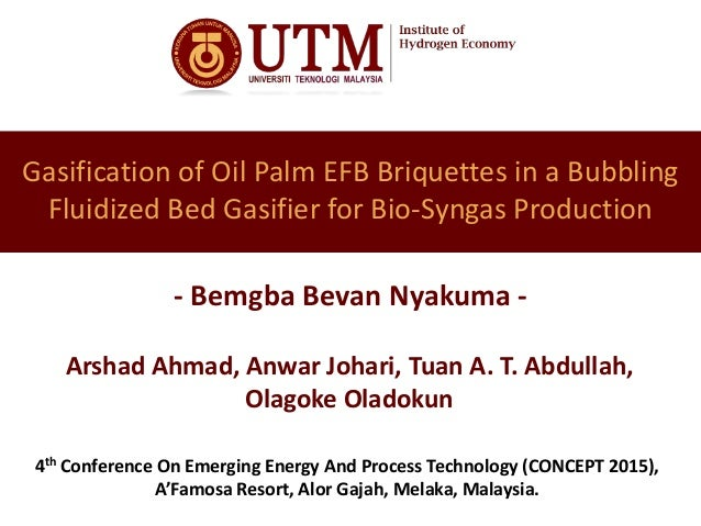 Gasification of Oil Palm EFB Briquettes in a Bubbling Fluidized Bed Gasifier for Bio-Syngas Production - Bemgba Bevan Nyak...