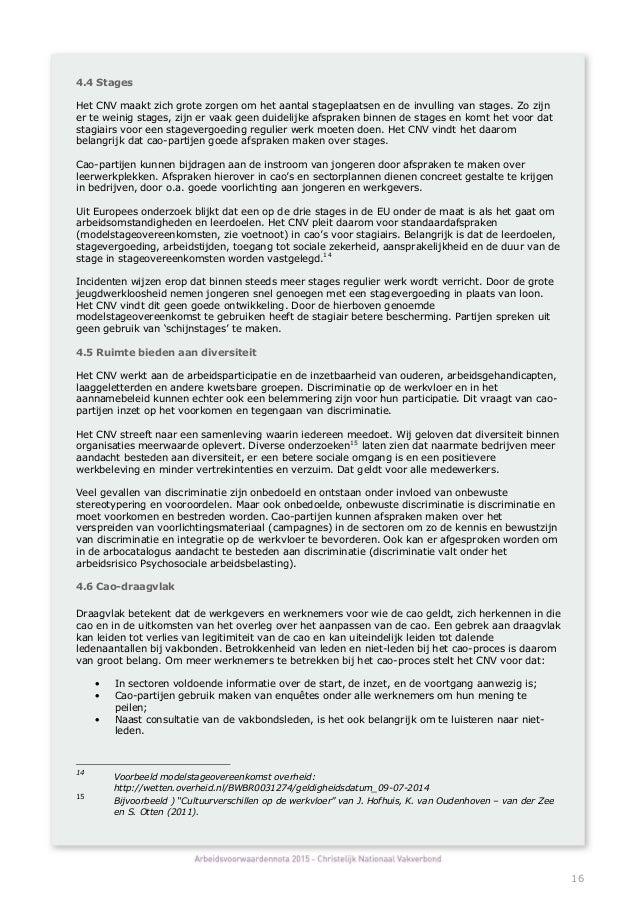 plan van aanpak arboned Concept Arbeidsvoorwaardennota 2015 CNV plan van aanpak arboned