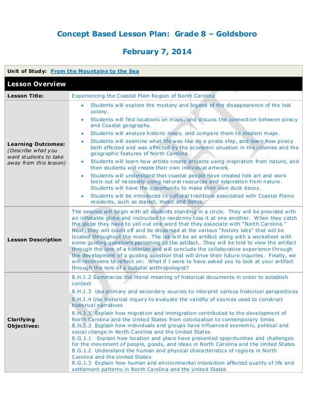 Concept Based Lesson Plan: Grade 8 – Goldsboro February 7, 2014 Unit of Study: From the Mountains to the Sea Lesson Overvi...