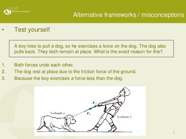 2 Alternative frameworks / misconceptions • Test yourself A boy tries to pull a dog, so he exercises a force on the dog. T...
