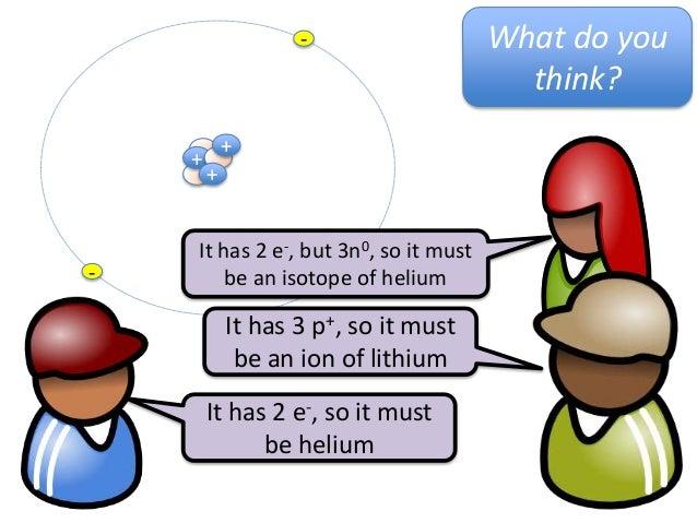 ++--It has 2 e-, so it mustbe heliumIt has 3 p+, so it mustbe an ion of lithiumIt has 2 e-, but 3n0, so it mustbe an isoto...