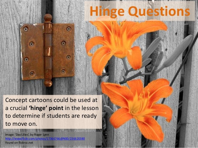 Hinge QuestionsConcept cartoons could be used ata crucial 'hinge' point in the lessonto determine if students are readyto ...