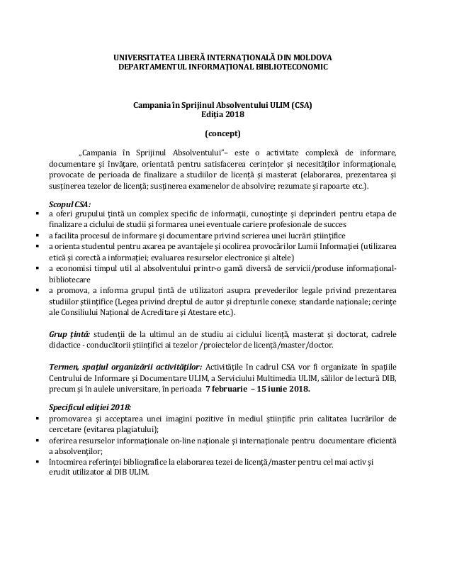 UNIVERSITATEA LIBERĂ INTERNAŢIONALĂ DIN MOLDOVA DEPARTAMENTUL INFORMAŢIONAL BIBLIOTECONOMIC Campania în Sprijinul Absolven...