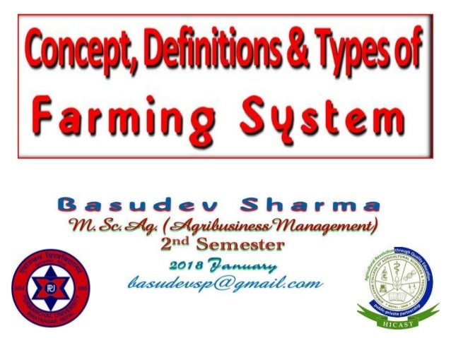 Concept, Definitions & Types of Farming System