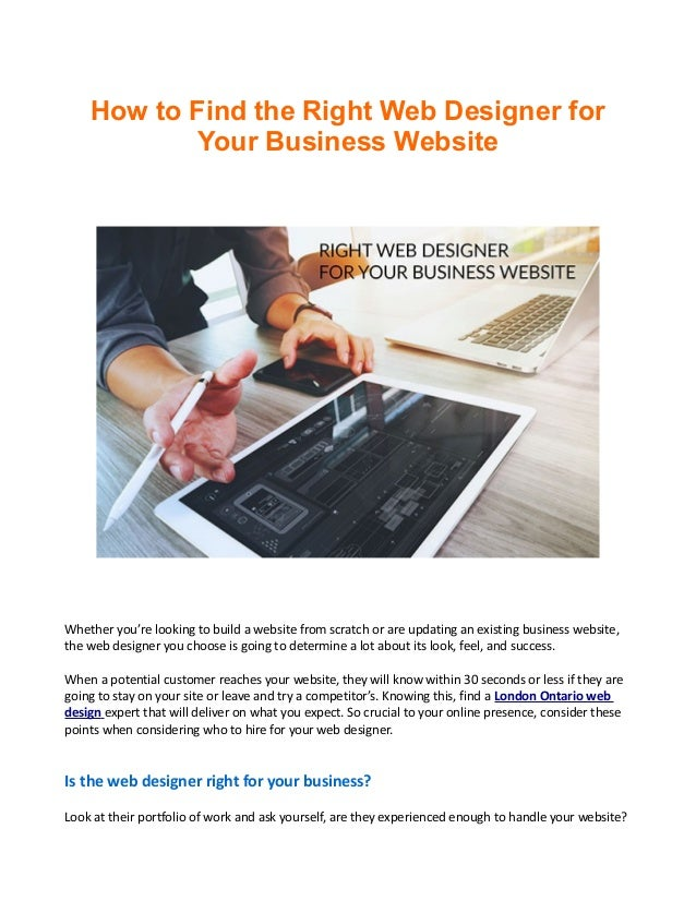 How To Find The Right Web Designer For Your Business Website