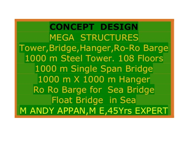 CONCEPT DESIGNMEGA STRUCTURESTower,Bridge,Hanger,Ro-Ro Barge1000 m Steel Tower. 108 Floors1000 m Single Span Bridge1000 m ...
