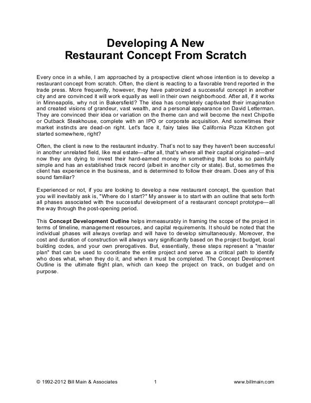 Developing A Restaurant Concept From Scratch A Special Report By Bil