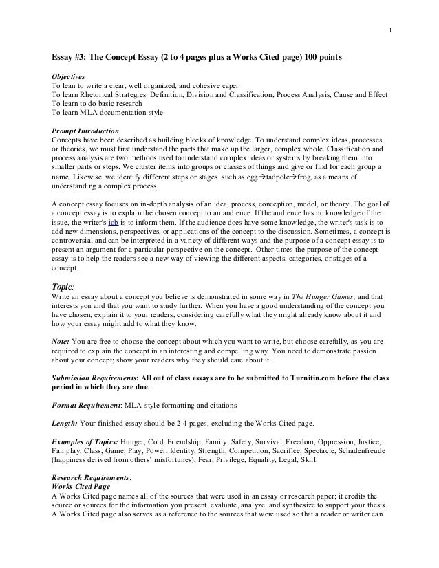 Concept Essay F Essay  The Concept Essay  To  Pages Plus A Works Cited