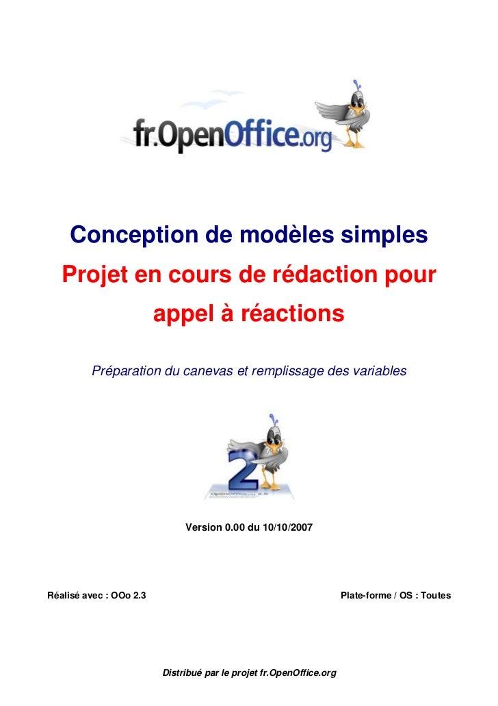 Conception de modèles simples   Projet en cours de rédaction pour                         appel à réactions         Prépar...
