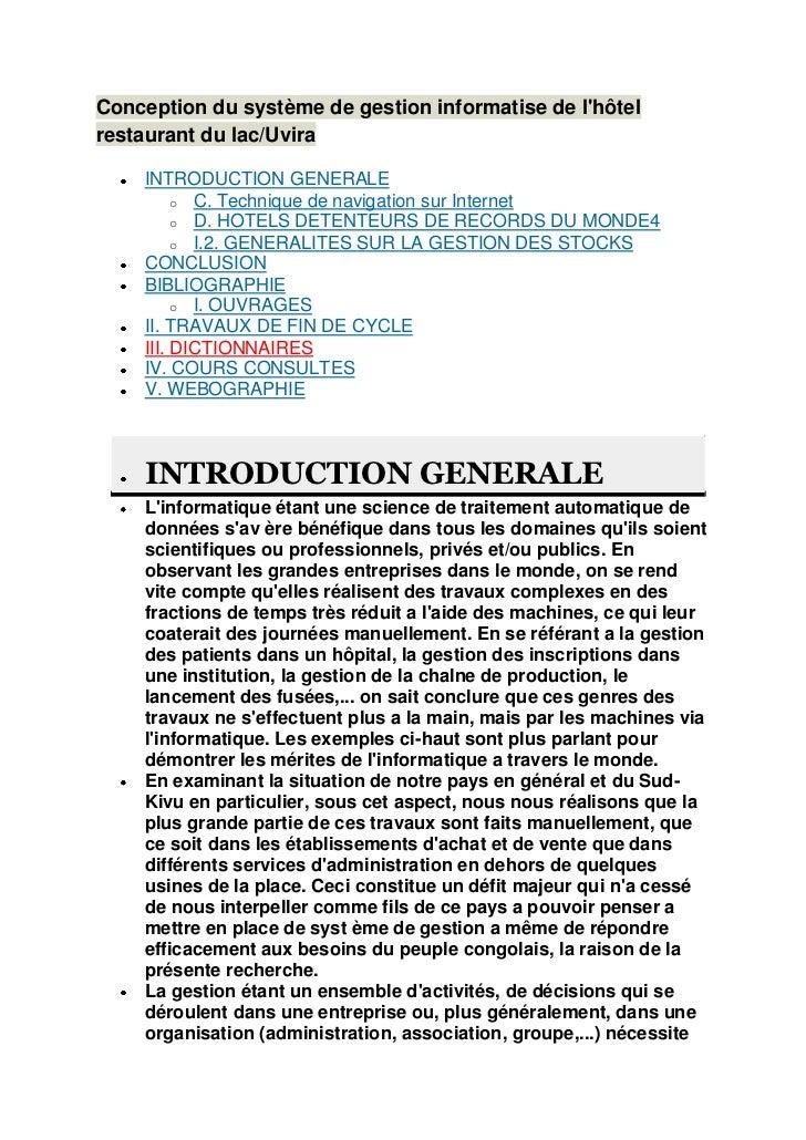 Conception du système de gestion informatise de lhôtelrestaurant du lac/Uvira    INTRODUCTION GENERALE         o C. Techni...