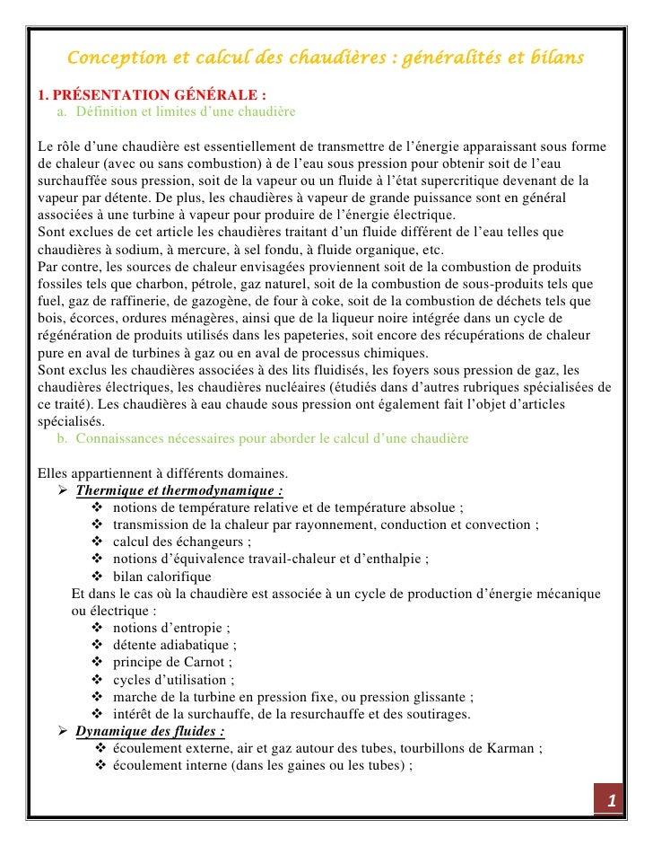 Conception et calcul des chaudières : généralités et bilans1. PRÉSENTATION GÉNÉRALE :   a. Définition et limites d'une cha...