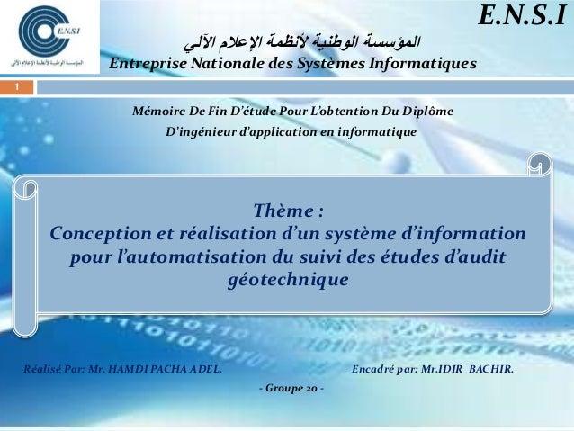 اآللي اإلعالم ألنظمة الوطنية المؤسسة Entreprise Nationale des Systèmes Informatiques Mémoire De Fin D'étude Pour...