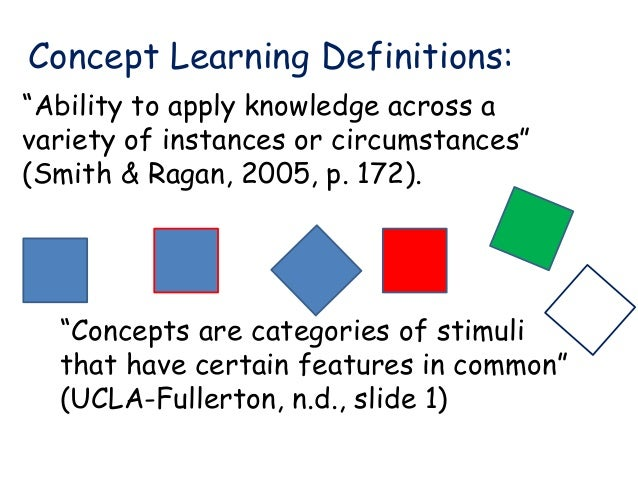 learning concepts Concept learning, also known as category learning, concept attainment, and  concept formation, is defined by bruner, goodnow, & austin (1967) as the  search.