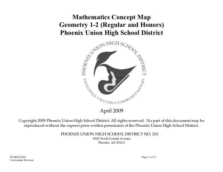 Mathematics Concept Map                            Geometry 1-2 (Regular and Honors)                            Phoenix Un...