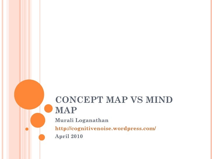 CONCEPT MAP VS MIND MAP Murali Loganathan http://cognitivenoise.wordpress.com/ April 2010
