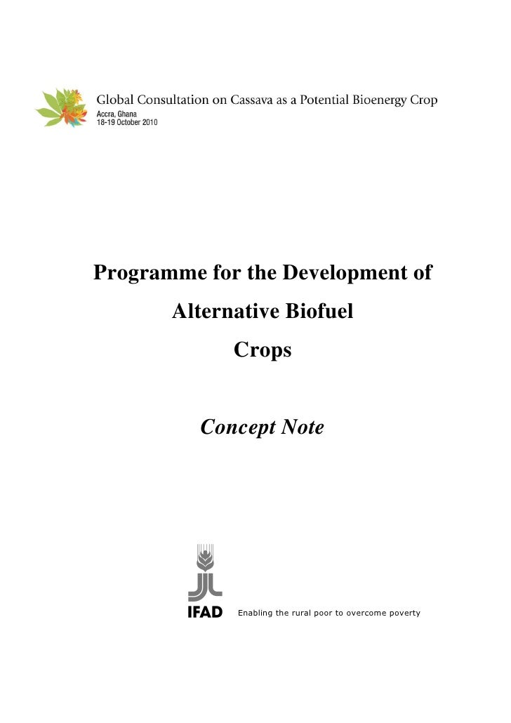 Programme for the Development of        Alternative Biofuel              Crops             Concept Note                  E...