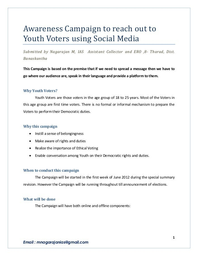 Awareness Campaign to reach out toYouth Voters using Social MediaSubmitted by Nagarajan M, IAS             Assistant Colle...