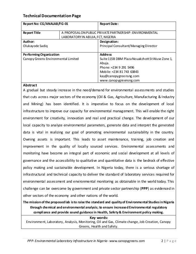 PPP- Environmental Laboratory Infrastructure in Nigeria- www.canopygreens.com 2   P a g e Technical DocumentationPage Repo...