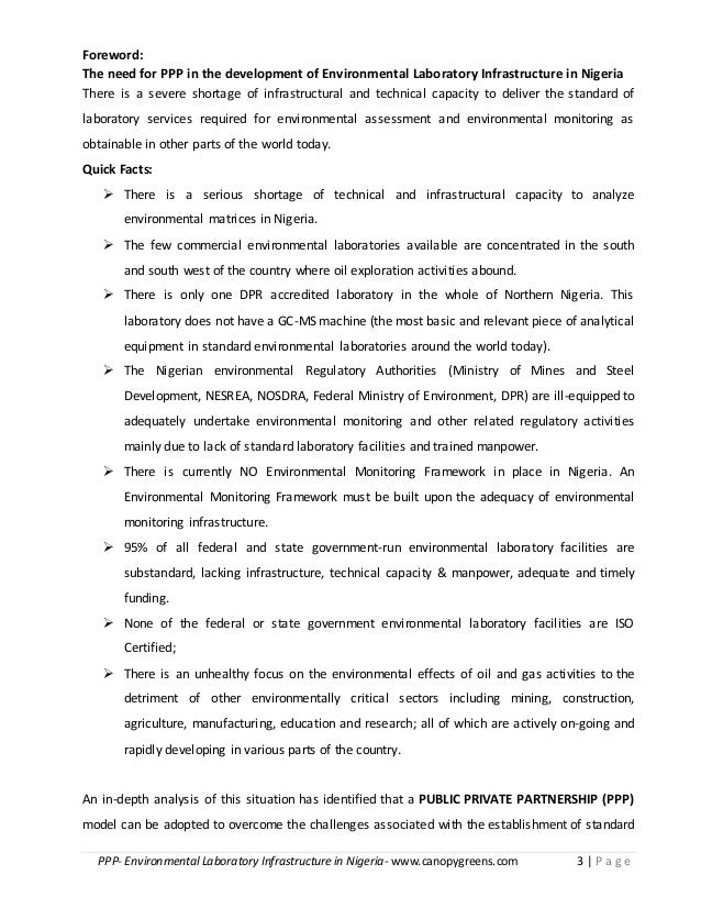 PPP- Environmental Laboratory Infrastructure in Nigeria- www.canopygreens.com 3   P a g e Foreword: The need for PPP in th...