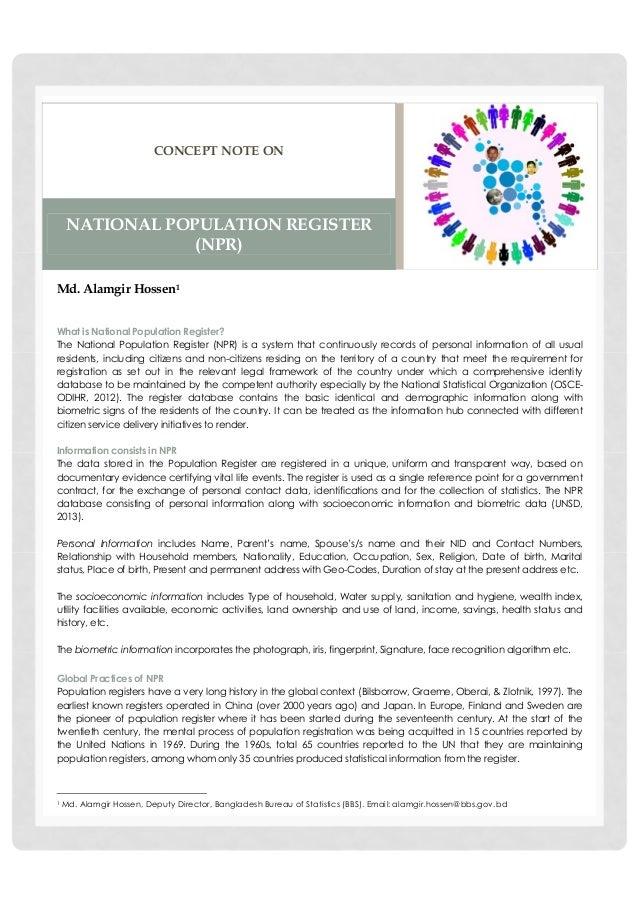 Concept note on National Population Register (NPR)