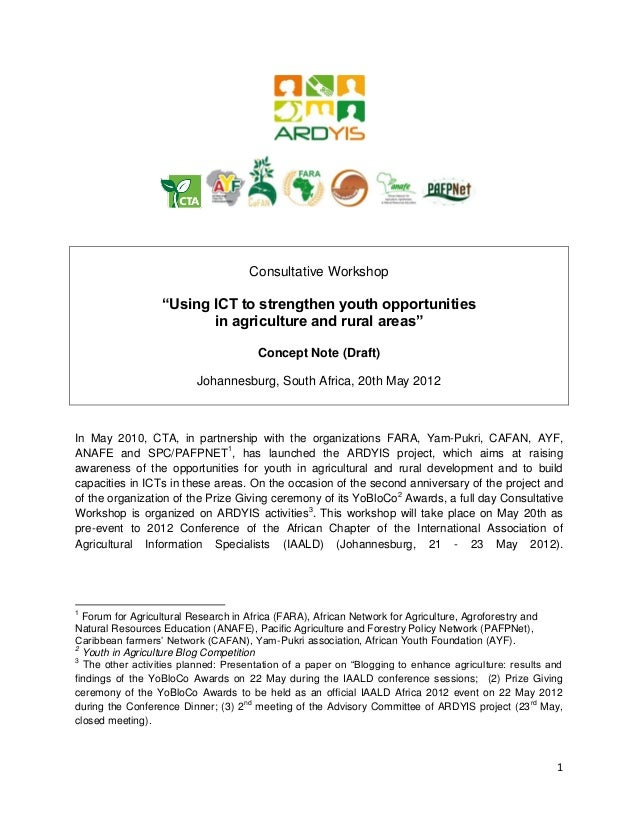 "Consultative Workshop                  ""Using ICT to strengthen youth opportunities                         in agriculture..."