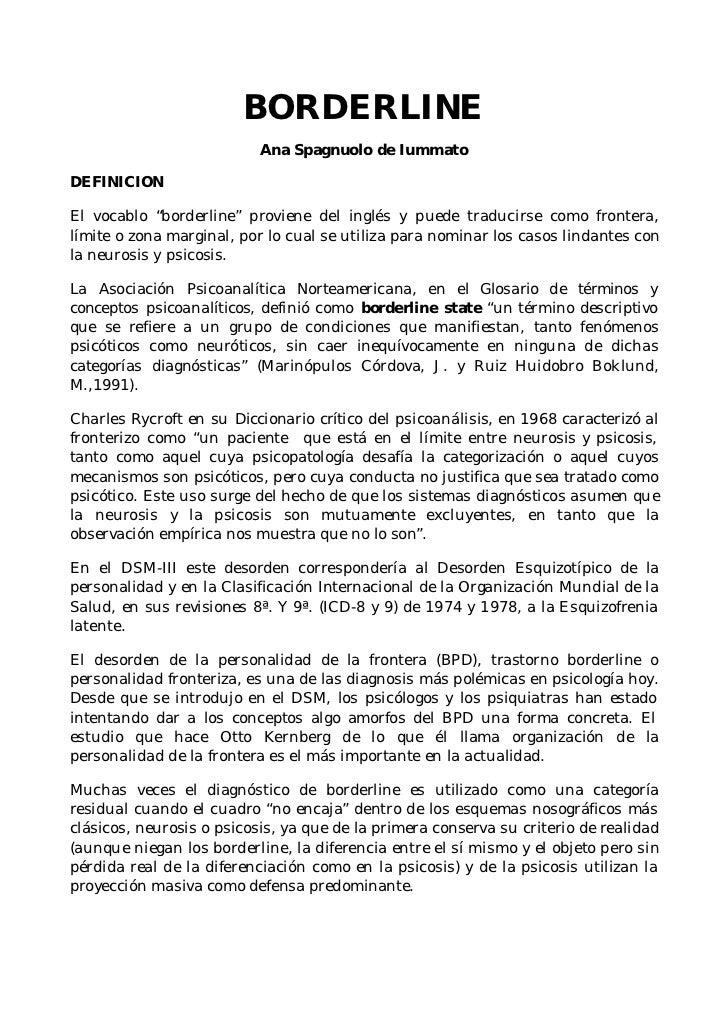 """BORDERLINE                            Ana Spagnuolo de Iummato  DEFINICION  El vocablo """"borderline"""" proviene del inglés y ..."""
