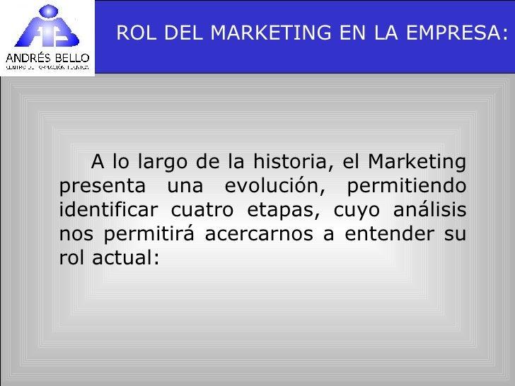 ROL DEL MARKETING EN LA EMPRESA: <ul><li>A lo largo de la historia, el Marketing presenta una evolución, permitiendo ident...